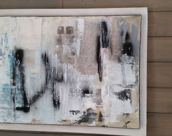 """Abstract acrylic painting """"Inspiration"""" in dominant shades of white, black and blue, made on canvas cotton"""