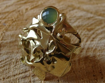 Sculpture ring, 100% HANDMADE, brass, chrysoprase. Unique piece