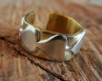 Brass ring, 925 silver ring, heart ring, heart wedding