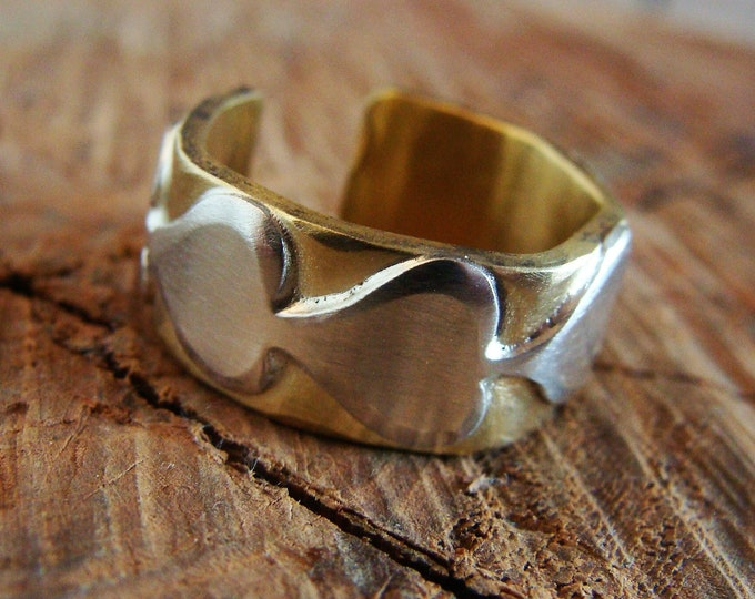 Featured listing image: Brass ring, 925 silver ring, heart ring, heart wedding