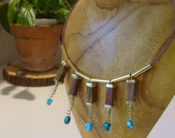 Choker necklace, jasper pendants, turquoise, on brass