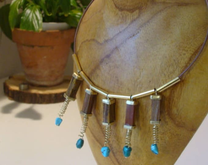 Featured listing image: Choker necklace, jasper pendants, turquoise, on brass