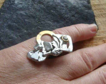 Solid silver designer ring, brass and zirconium oxide
