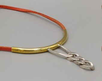 Brass necklace, silver links