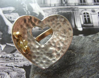 Sterling Silver Heart Ring, Brass, Synthetic Beads
