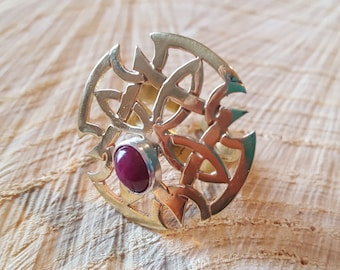 Designer ring, brass and silver ring, rosette ring, ruby ring, brass ring