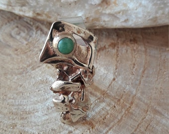 Contemporary silver ring, brass, jade. HANDMADE