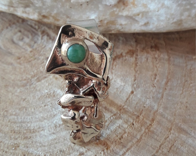 Featured listing image: Contemporary silver ring, brass, jade. HANDMADE