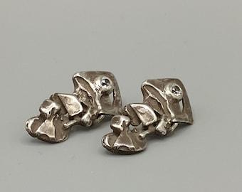 Sterling silver earrings 925 , white stones. HANDMADE
