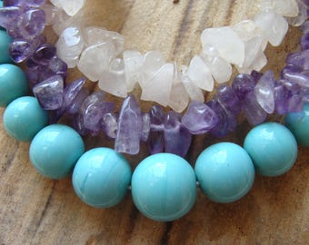 Necklace with fine stones: amethysts, pink quartz, turquoise