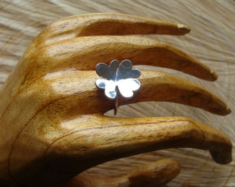 4 leaf clover ring, solid silver ring, handmade ring.