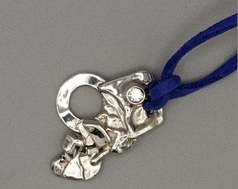 Pendant silver 925th, zirconium oxide cord imitation leather