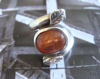 Sterling silver ring, sunstone