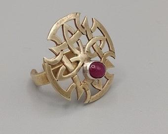 Designer ring, brass and silver ring, rosette ring, ruby ring, brass ring