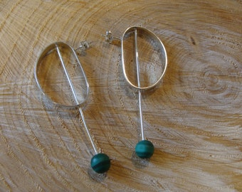 Malachite silver earrings, green stone earrings, silver earrings and natural stones