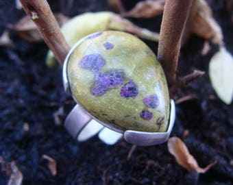 Sterling silver ring 925th, natural ornamental stone cabochon shape