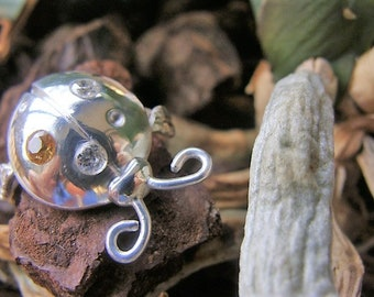 Ladybug silver ring, synthetic stones. 100% HANDMADE
