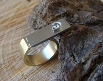 Contemporary ring, brass, metal, silver, white stone. 100% HANDMADE