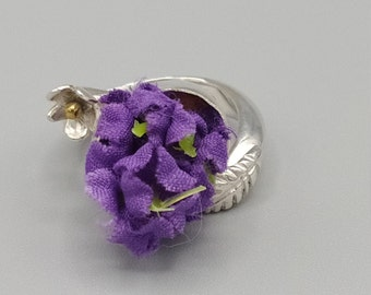 925 silver ring, bouquet of violets