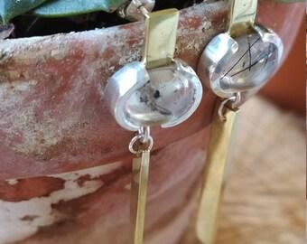 Drop earrings silver 925, quartz brass, handmade