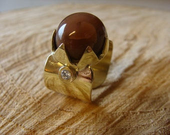 Brass and fine stone ring, moonstone ring, designer ring