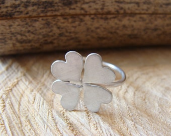Silver four-leaf clover ring, silver ring, handmade ring