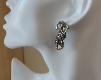Sterling silver earrings 925 , white stones. HANDMADE