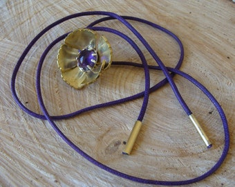Flower necklace, brass necklace, amethyst necklace