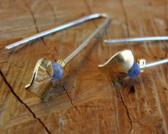 Silver earrings, brass, hearts, sapphires. Silver dangle earrings. Bohemian and chic earrings