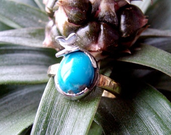 Butterfly ring of silver, brass, turquoise. 100% HANDMADE