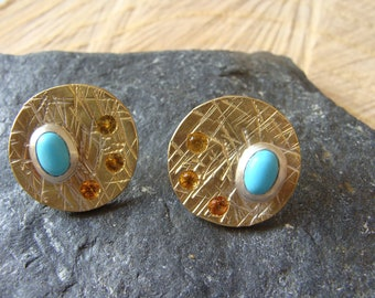 Pair of round brass earrings, solid silver, turquoise, yellow sapphires. 100% HANDMADE