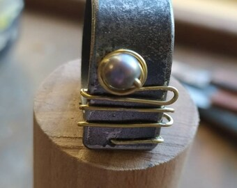 Steel, brass, gray cultured pearl ring, handmade