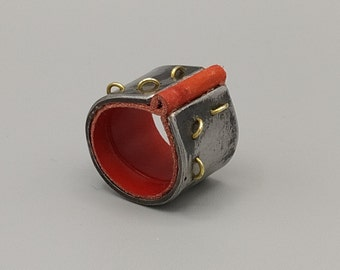 Ribbon ring, steel, brass, red leather. HANDMADE