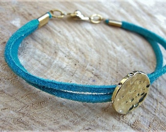 Brass bracelet, woman bracelet, brass and leather bracelet. 100% HANDMADE