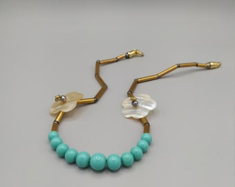 Necklace turquoise beads, mother-of-pearl, gray pearls, brass