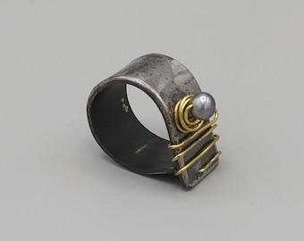 Steel, brass, gray cultured pearl ring, handmade