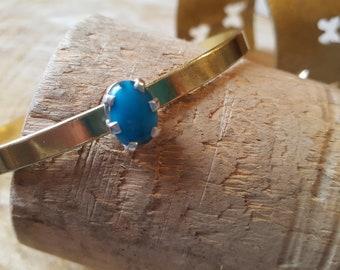 Brass bracelet, brass bangle bracelet, turquoise bracelet