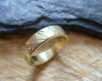 Ring ring, alliance, engraved brass, craft jewel
