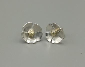 Flower earrings in 925 silver and brass