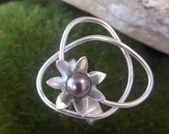 Solid silver ring, Tahitian pearl, HANDMADE