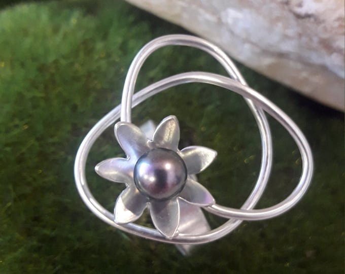 Featured listing image: Solid silver ring, Tahitian pearl, HANDMADE