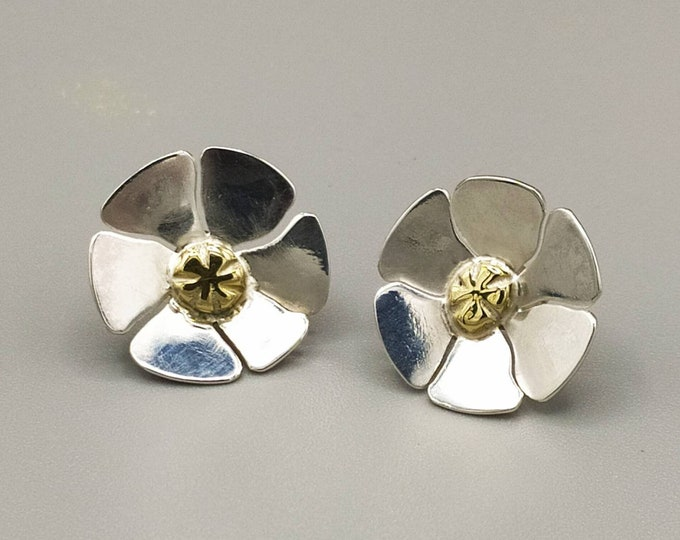 Featured listing image: Silver and brass flower earrings
