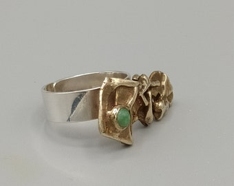 Contemporary silver ring, brass, chrysoprase stone.