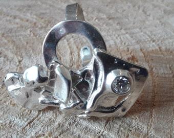 Solid silver designer ring, zirconium oxide