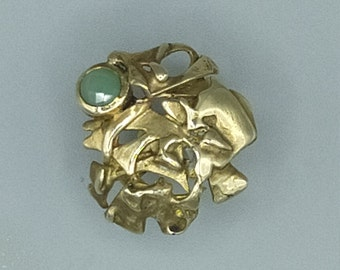 Sculpture ring, 100% HANDMADE, brass, chrysoprase. Unique piece