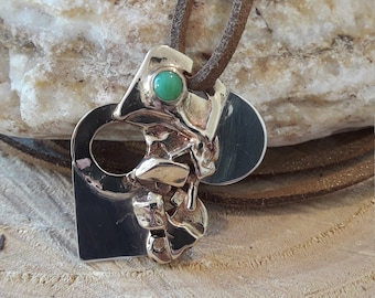 Contemporary pendant, bracelet, silver, brass jade.