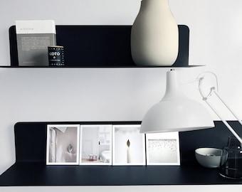 Floating Shelf Wall Shelf Shelf Living Living Room Kitchen Bedroom Lengths 35 | 60 | 80 cm steel black white Juncher-Design Scandi