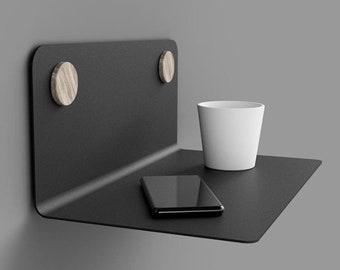 Shelf Wall Shelf Floating Shelf Kitchen Bedroom Living Room 35 | 60 | 80 cm steel black and white design WITH DOTS natural