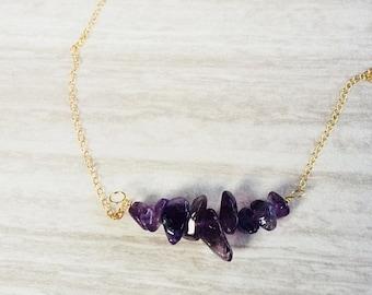 On Sale Amethyst Necklace, Amethyst Nugget Necklace, Gold Necklace, Silver Necklace, Layering Necklace, Boho Necklace, February Birthstone