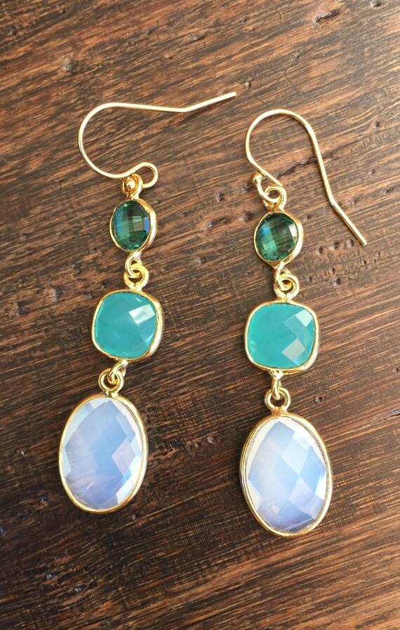 EJ-129 Dainty Earrings Teardrop Gemstone Earrings Women Earrings Handmade Jewelry Rarest Aqua Chalcedony Gemstone Earrings